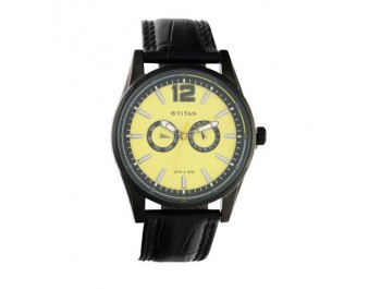 Yellow Dial Titan Watch For Men Nc9322nl01